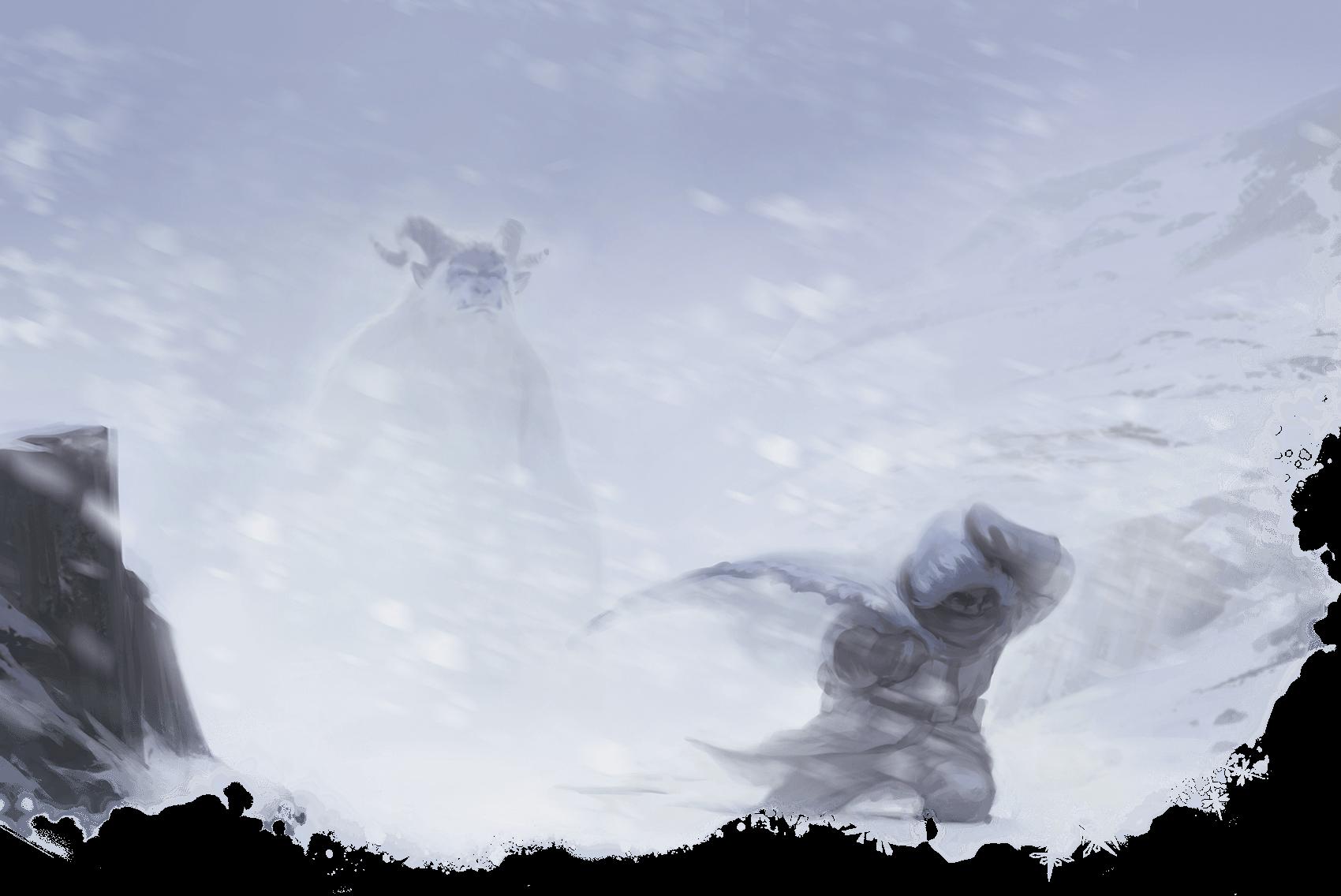 A lone figure walking in a horrible blizzard.