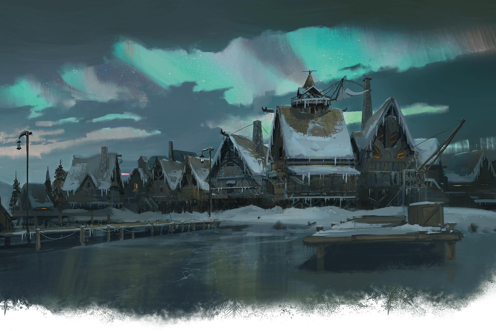 A rustic town forzen in ice.